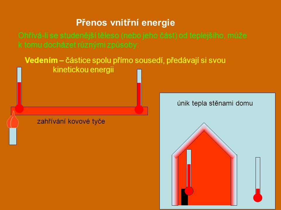 Vedením – částice spolu přímo sousedí, předávají si svou kinetickou energii Přenos vnitřní energie zahřívání kovové tyče únik tepla stěnami domu Ohřív