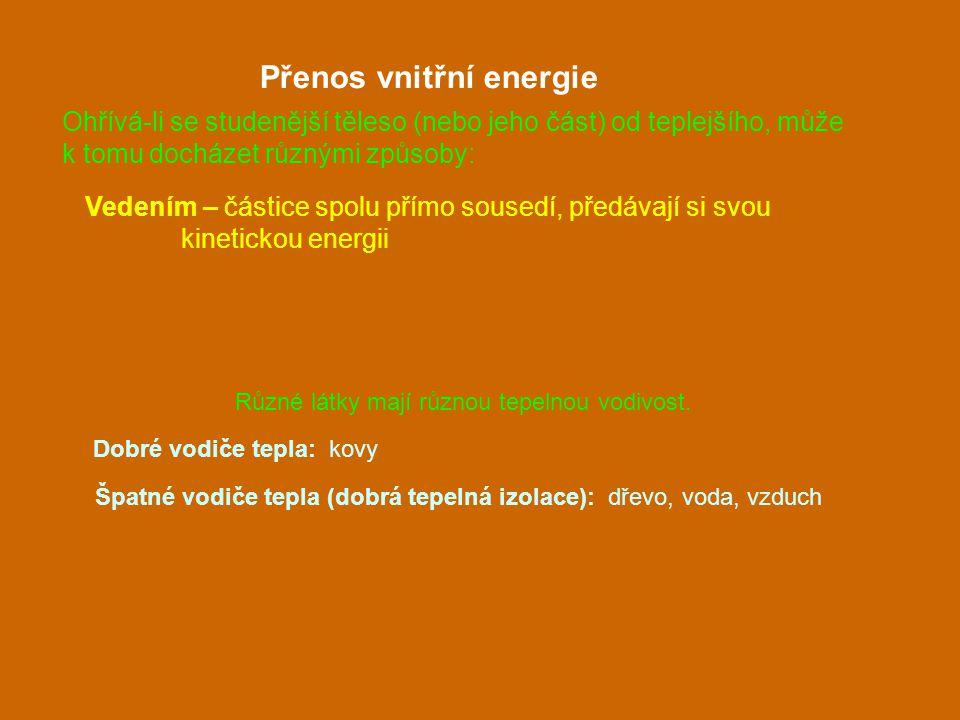 Vedením – částice spolu přímo sousedí, předávají si svou kinetickou energii Přenos vnitřní energie Různé látky mají různou tepelnou vodivost. Dobré vo