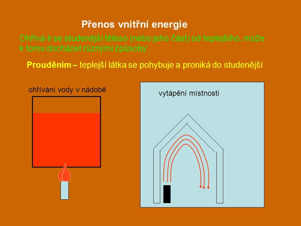 Prouděním – teplejší látka se pohybuje a proniká do studenější Přenos vnitřní energie ohřívání vody v nádobě vytápění místnosti Ohřívá-li se studenějš