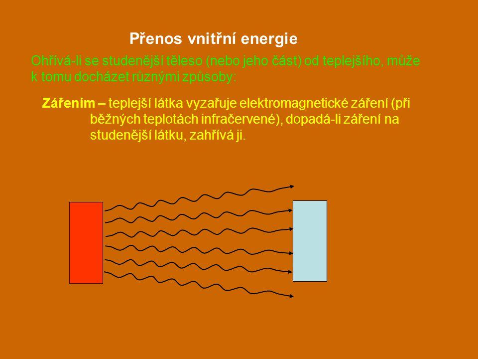 Zářením – teplejší látka vyzařuje elektromagnetické záření (při běžných teplotách infračervené), dopadá-li záření na studenější látku, zahřívá ji. Pře
