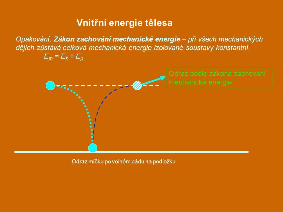 Vnitřní energie tělesa Opakování: Zákon zachování mechanické energie – při všech mechanických dějích zůstává celková mechanická energie izolované sous