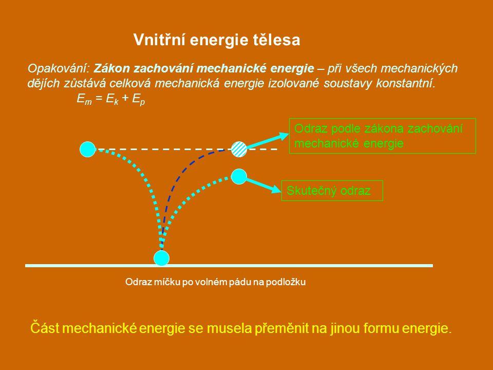 Vnitřní energie tělesa Část mechanické energie se musela přeměnit na jinou formu energie. Opakování: Zákon zachování mechanické energie – při všech me