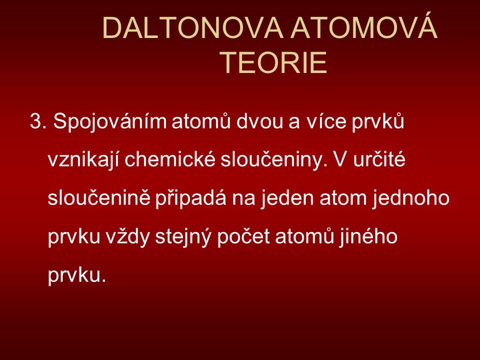 DALTONOVA ATOMOVÁ TEORIE 3. Spojováním atomů dvou a více prvků vznikají chemické sloučeniny. V určité sloučenině připadá na jeden atom jednoho prvku v
