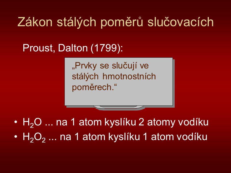 """Zákon stálých poměrů slučovacích Proust, Dalton (1799): H 2 O... na 1 atom kyslíku 2 atomy vodíku H 2 O 2... na 1 atom kyslíku 1 atom vodíku """"Prvky se"""