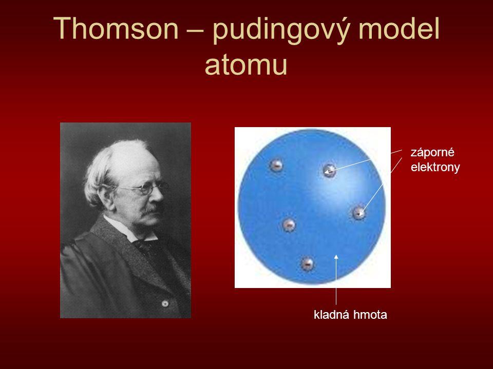 Thomson – pudingový model atomu kladná hmota záporné elektrony