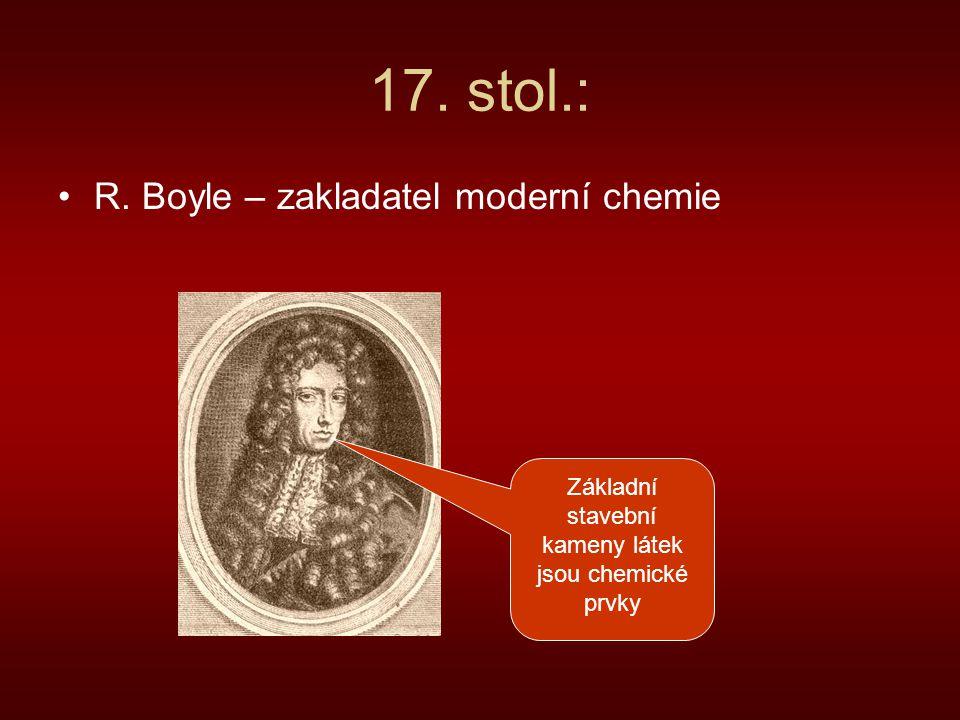 17. stol.: R. Boyle – zakladatel moderní chemie Základní stavební kameny látek jsou chemické prvky
