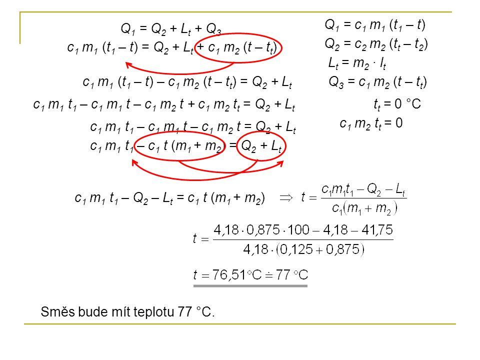 Q 1 = Q 2 + L t + Q 3 Q 1 = c 1 m 1 (t 1 – t) Q 2 = c 2 m 2 (t t – t 2 ) L t = m 2 · l t Q 3 = c 1 m 2 (t – t t )c 1 m 1 (t 1 – t) – c 1 m 2 (t – t t ) = Q 2 + L t c 1 m 1 t 1 – c 1 m 1 t – c 1 m 2 t + c 1 m 2 t t = Q 2 + L t c 1 m 1 (t 1 – t) = Q 2 + L t + c 1 m 2 (t – t t ) t t = 0 °C c 1 m 2 t t = 0 c 1 m 1 t 1 – c 1 m 1 t – c 1 m 2 t = Q 2 + L t c 1 m 1 t 1 – c 1 t (m 1 + m 2 ) = Q 2 + L t c 1 m 1 t 1 – Q 2 – L t = c 1 t (m 1 + m 2 ) Směs bude mít teplotu 77 °C.
