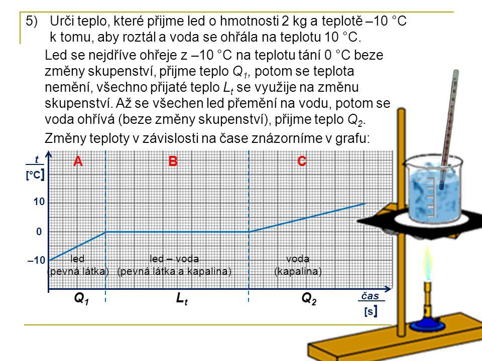 5)Urči teplo, které přijme led o hmotnosti 2 kg a teplotě –10 °C k tomu, aby roztál a voda se ohřála na teplotu 10 °C. Led se nejdříve ohřeje z –10 °C