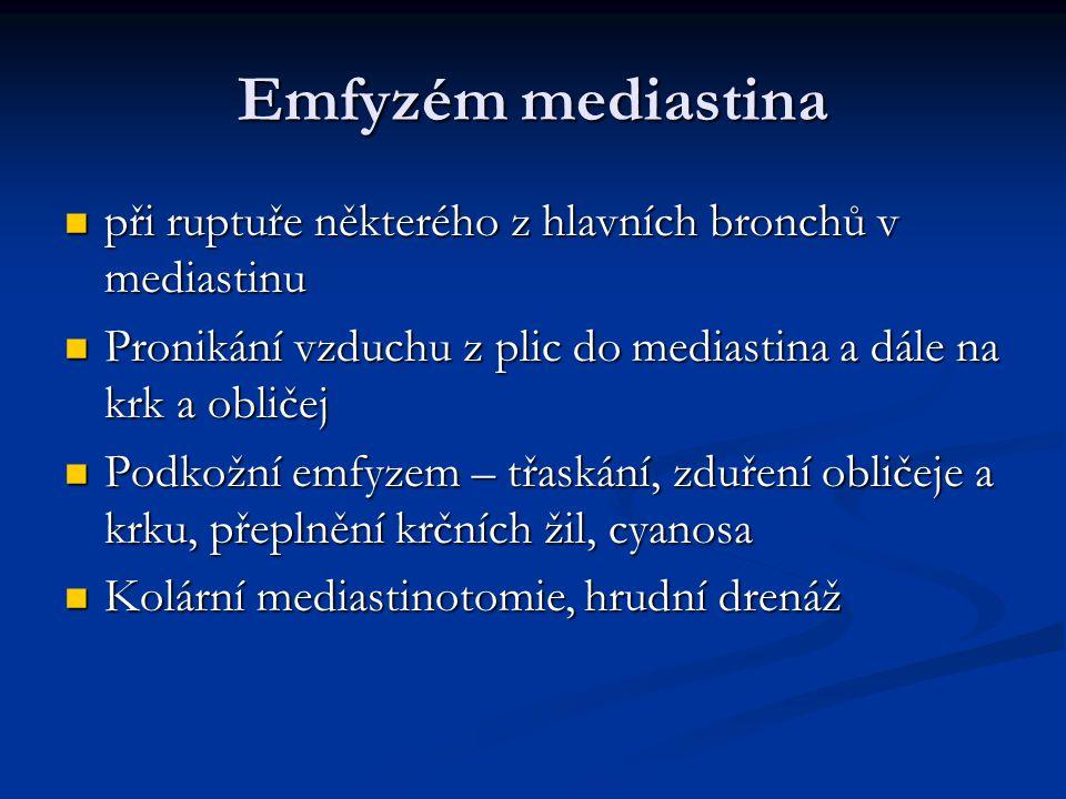 Emfyzém mediastina při ruptuře některého z hlavních bronchů v mediastinu při ruptuře některého z hlavních bronchů v mediastinu Pronikání vzduchu z pli
