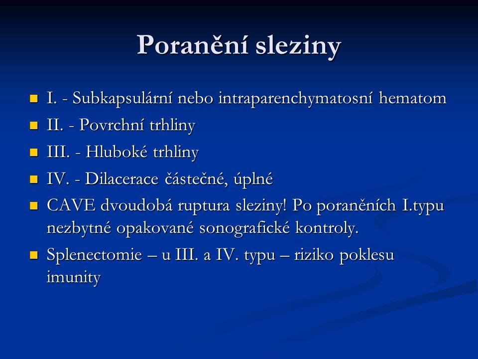 Poranění sleziny I. - Subkapsulární nebo intraparenchymatosní hematom I. - Subkapsulární nebo intraparenchymatosní hematom II. - Povrchní trhliny II.