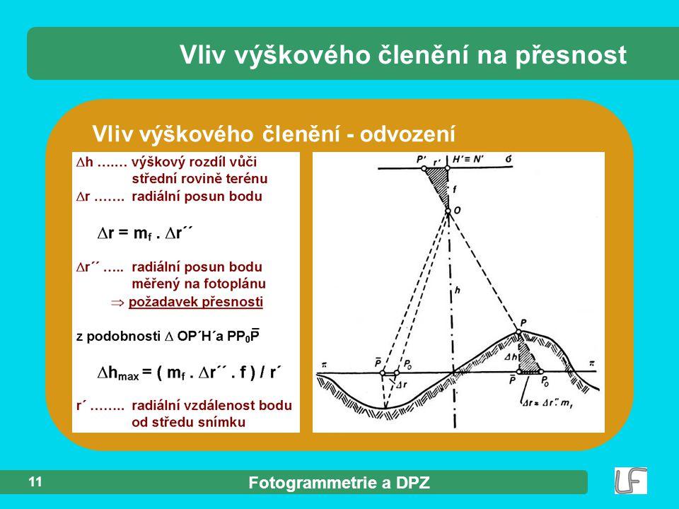 Fotogrammetrie a DPZ 11 Vliv výškového členění - odvození Vliv výškového členění na přesnost
