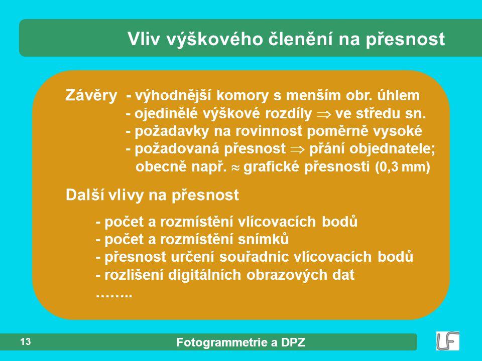 Fotogrammetrie a DPZ 13 Závěry - výhodnější komory s menším obr.