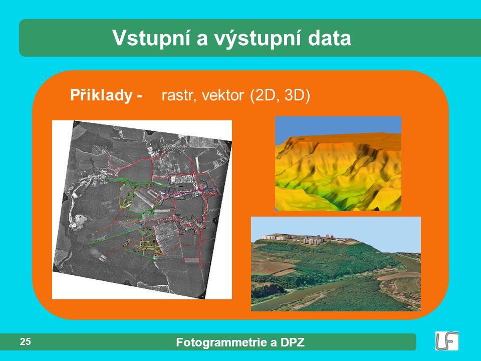 Fotogrammetrie a DPZ 25 Příklady - rastr, vektor (2D, 3D) Vstupní a výstupní data