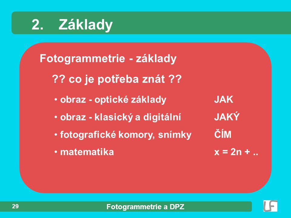 Fotogrammetrie a DPZ 29 Fotogrammetrie - základy ?? co je potřeba znát ?? 2.Základy obraz - optické základyJAK obraz - klasický a digitálníJAKÝ fotogr