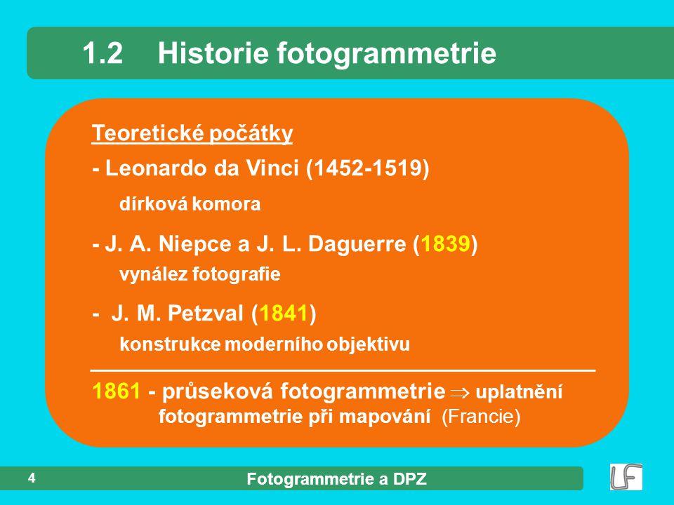 Fotogrammetrie a DPZ 4 Teoretické počátky - Leonardo da Vinci (1452-1519) dírková komora - J. A. Niepce a J. L. Daguerre (1839) vynález fotografie - J