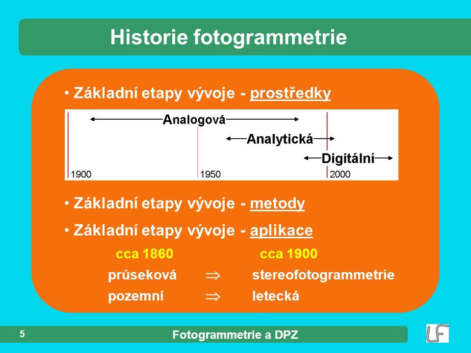 Fotogrammetrie a DPZ 5 Historie fotogrammetrie Základní etapy vývoje - prostředky Základní etapy vývoje - metody cca 1860 cca 1900 průseková  stereof