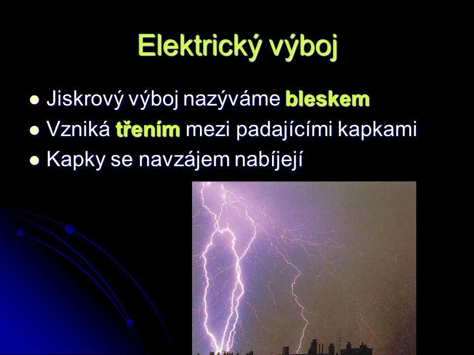 Elektrický výboj Jiskrový výboj nazýváme bleskem Vzniká třením mezi padajícími kapkami Kapky se navzájem nabíjejí