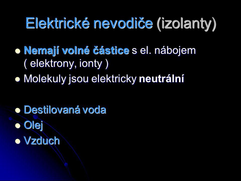 Elektrické nevodiče (izolanty) Nemají volné částice s el. nábojem ( elektrony, ionty ) Nemají volné částice s el. nábojem ( elektrony, ionty ) Molekul