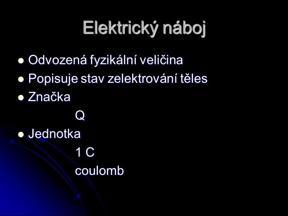 Elektrický náboj Odvozená fyzikální veličina Odvozená fyzikální veličina Popisuje stav zelektrování těles Popisuje stav zelektrování těles Značka Znač