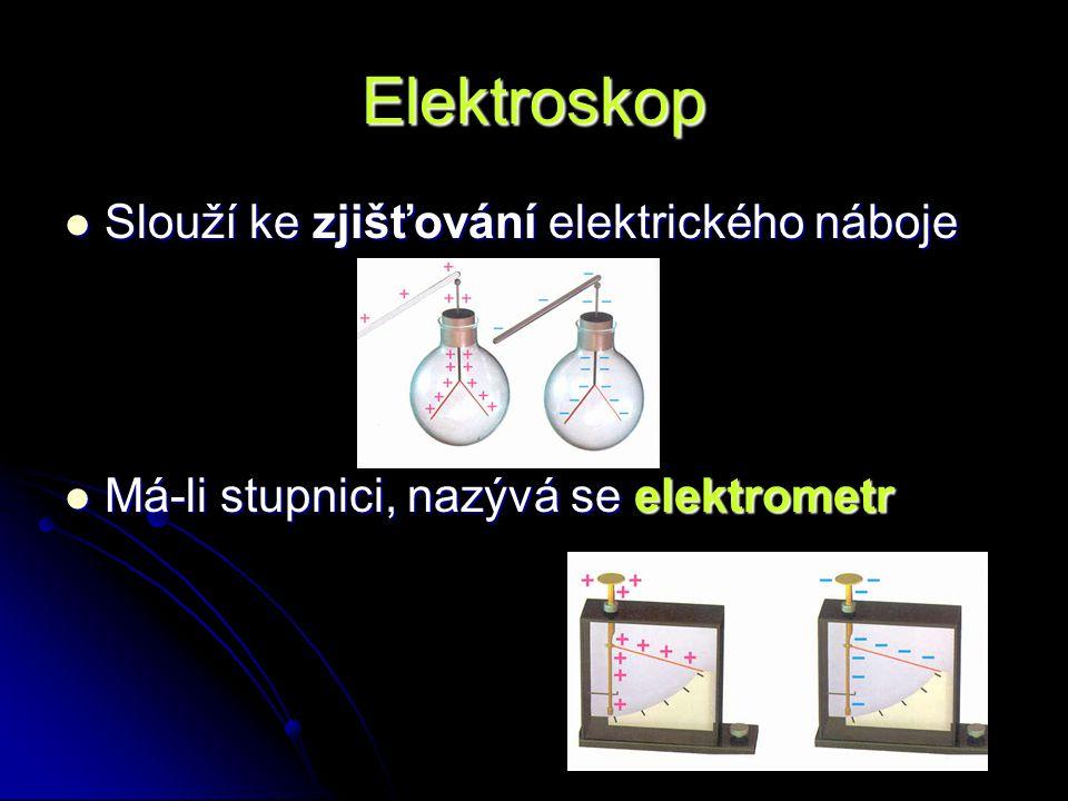 Elektroskop Slouží ke zjišťování elektrického náboje Slouží ke zjišťování elektrického náboje Má-li stupnici, nazývá se elektrometr Má-li stupnici, na