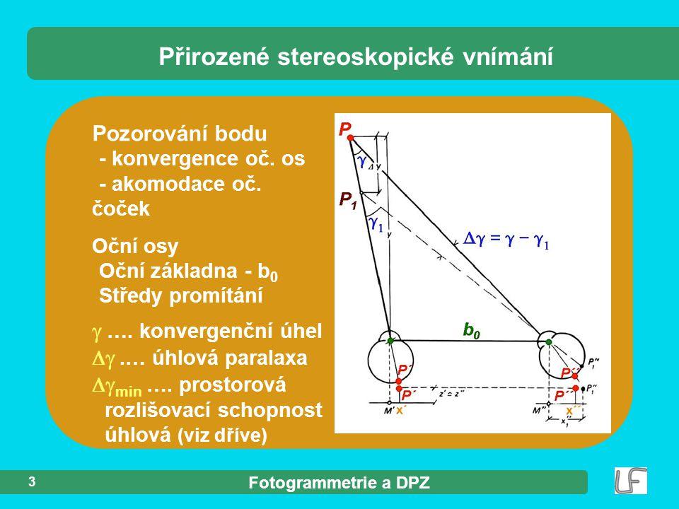 Fotogrammetrie a DPZ 3 Pozorování bodu - konvergence oč. os - akomodace oč. čoček Oční osy Oční základna - b 0 Středy promítání  …. konvergenční úhel
