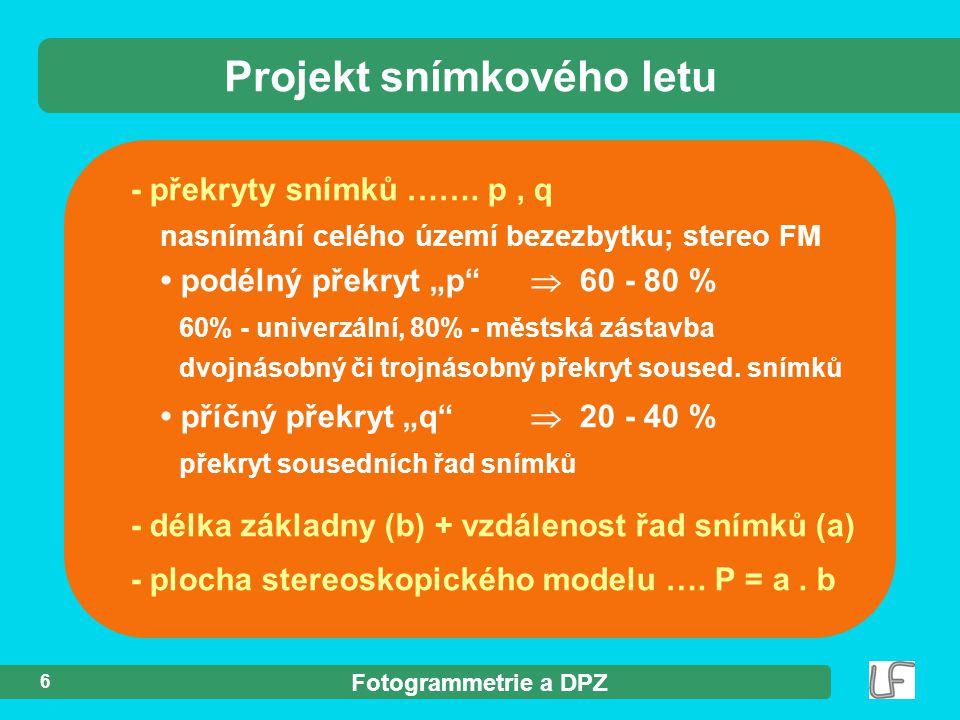 Fotogrammetrie a DPZ Fotogrammetrie přednášející Jindřich Hodač Ph.D.