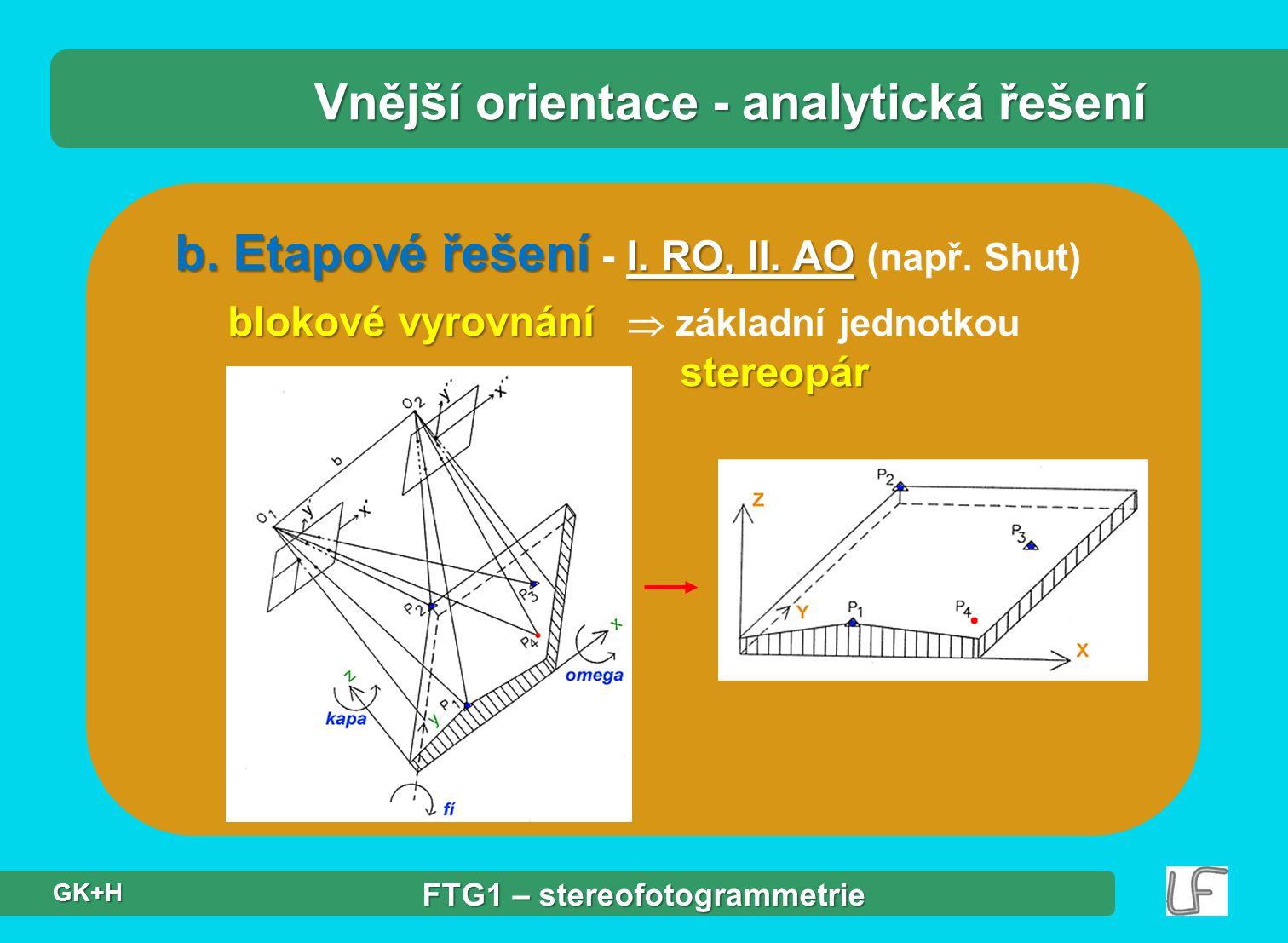 b. Etapové řešení I. RO, II. AO b. Etapové řešení - I. RO, II. AO (např. Shut) blokové vyrovnání stereopár blokové vyrovnání  základní jednotkou ster