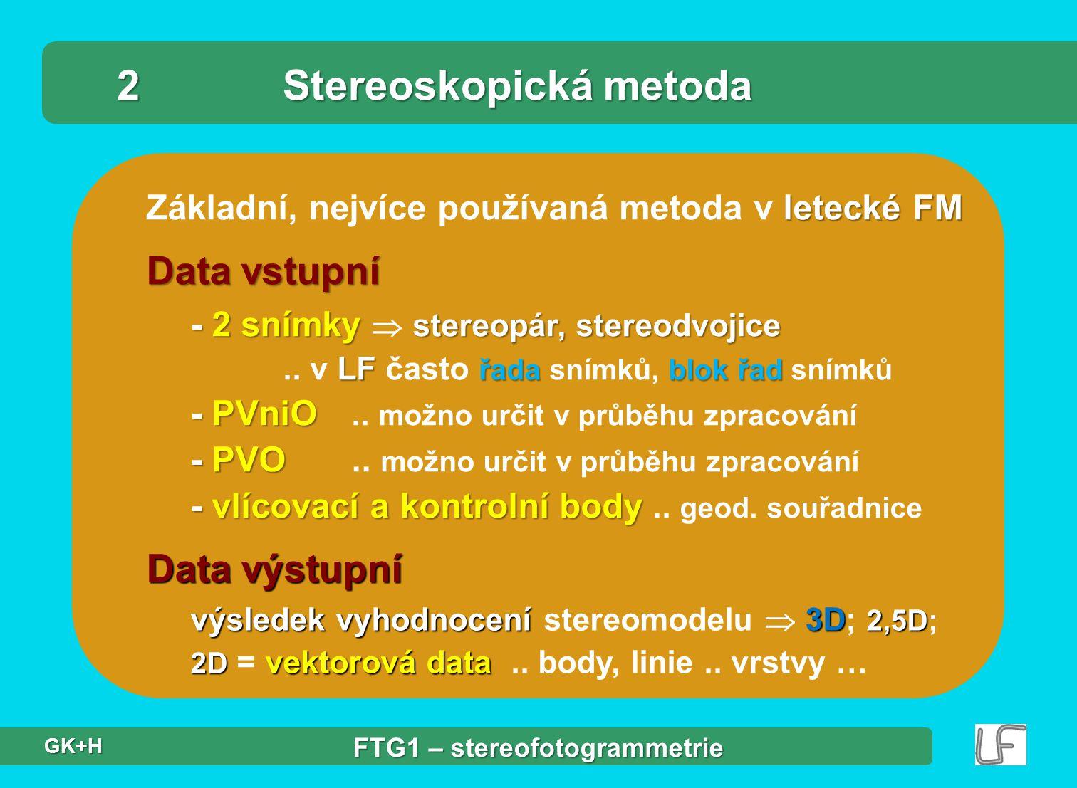 letecké FM Základní, nejvíce používaná metoda v letecké FM 2Stereoskopická metoda Data vstupní - 2 snímky stereopár, stereodvojice LF řadablok řad - P