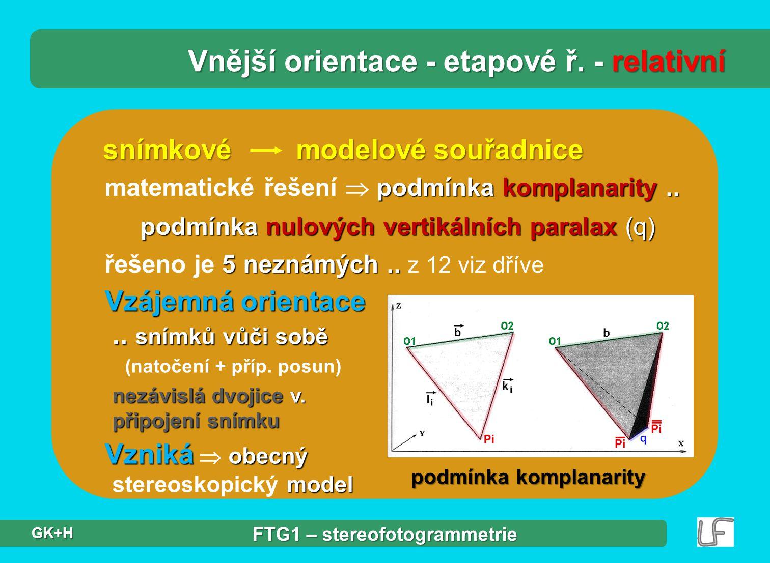 snímkové modelové souřadnice podmínka komplanarity.. matematické řešení  podmínka komplanarity.. podmínka nulových vertikálních paralax (q) 5 neznámý