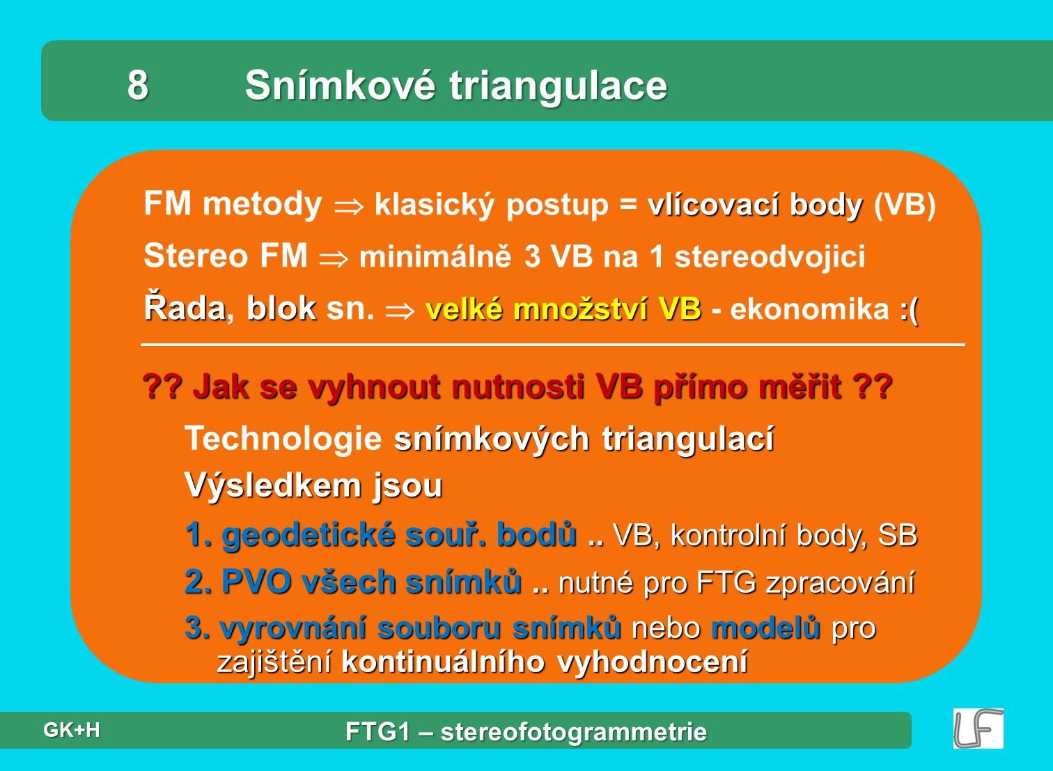 vlícovací body FM metody  klasický postup = vlícovací body (VB) Stereo FM  minimálně 3 VB na 1 stereodvojici Řadablok velké množství VB :( Řada, blo