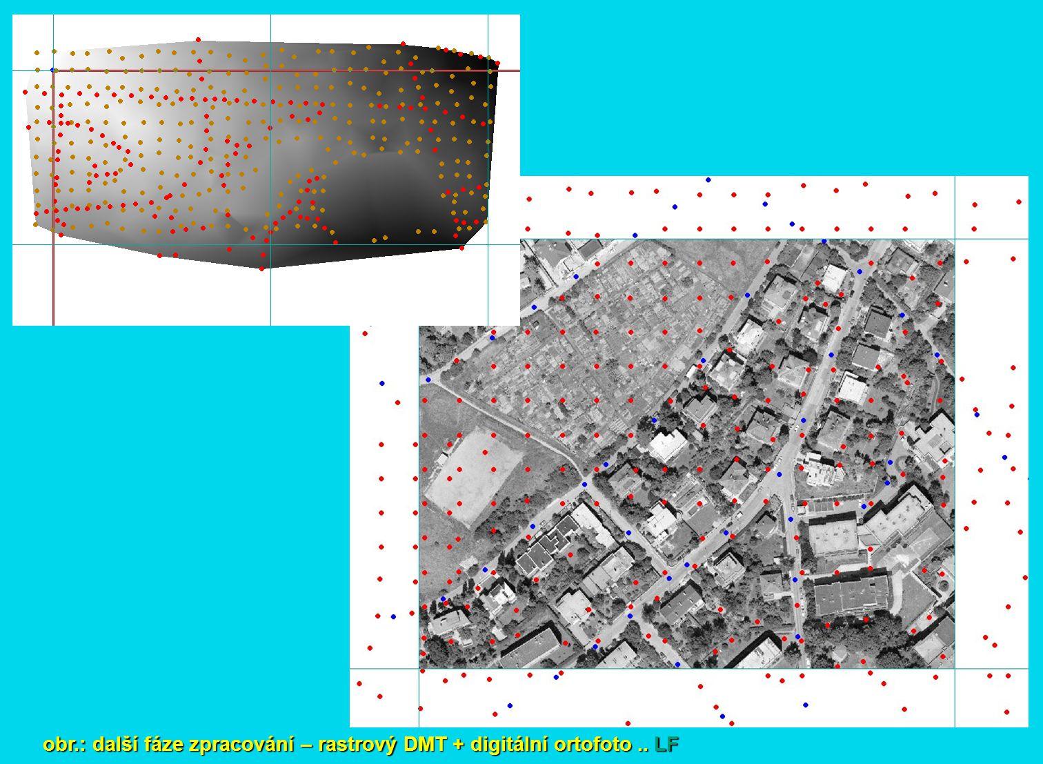 obr.: další fáze zpracování – rastrový DMT + digitální ortofoto.. LF