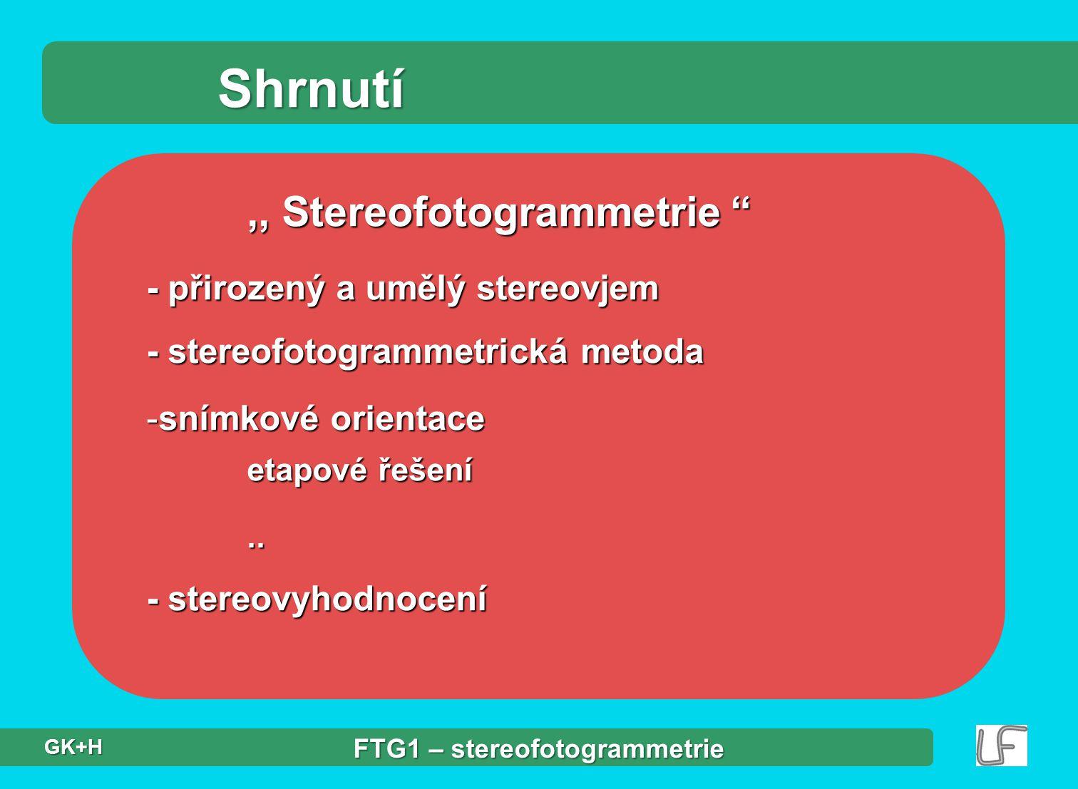 """Shrnutí,, Stereofotogrammetrie """" - přirozený a umělý stereovjem - stereofotogrammetrická metoda -snímkové orientace etapové řešení.. - stereovyhodnoce"""