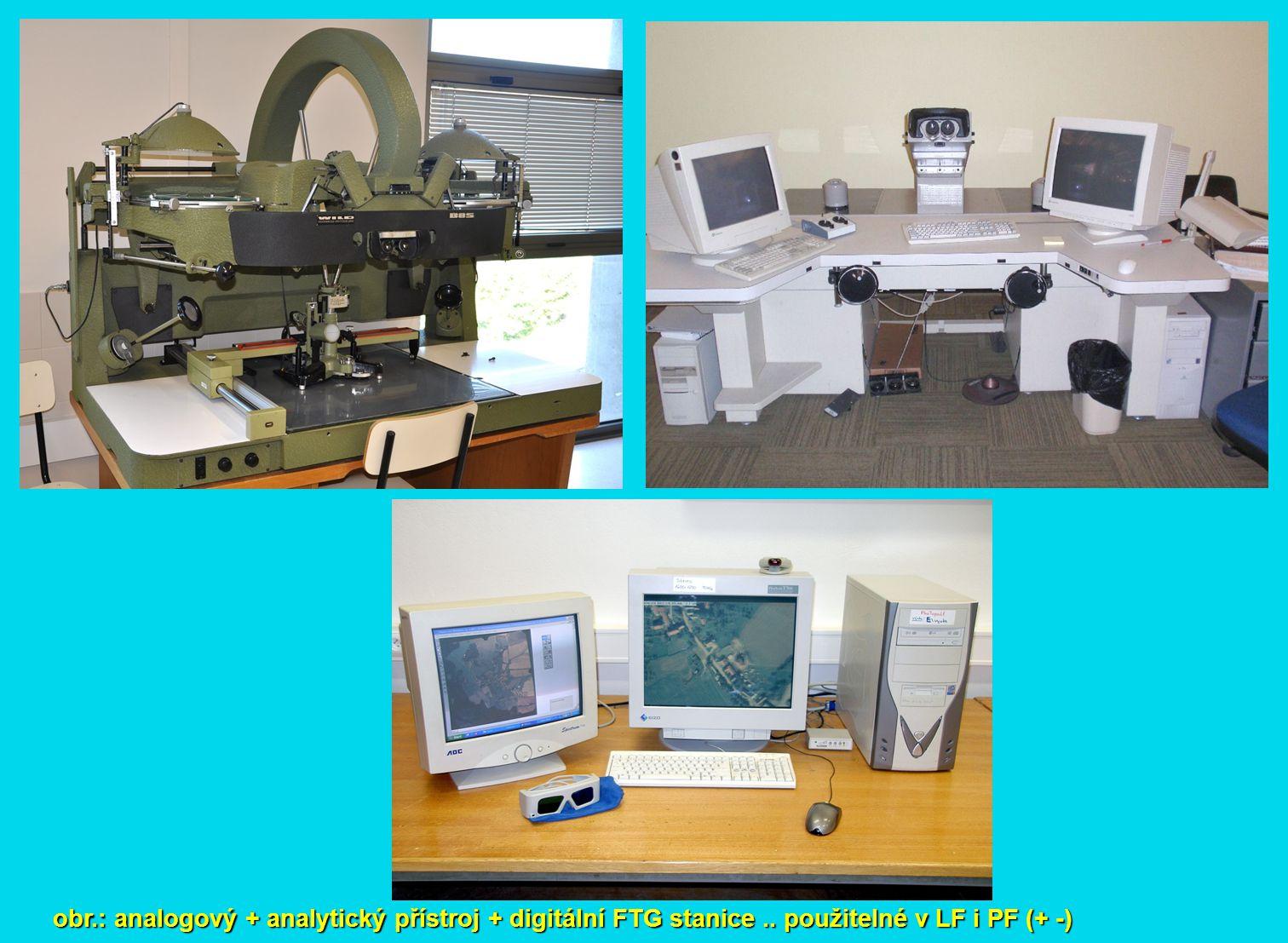 obr.: digitální fotogrammetrické stanice – seznam.. jistě neúplný