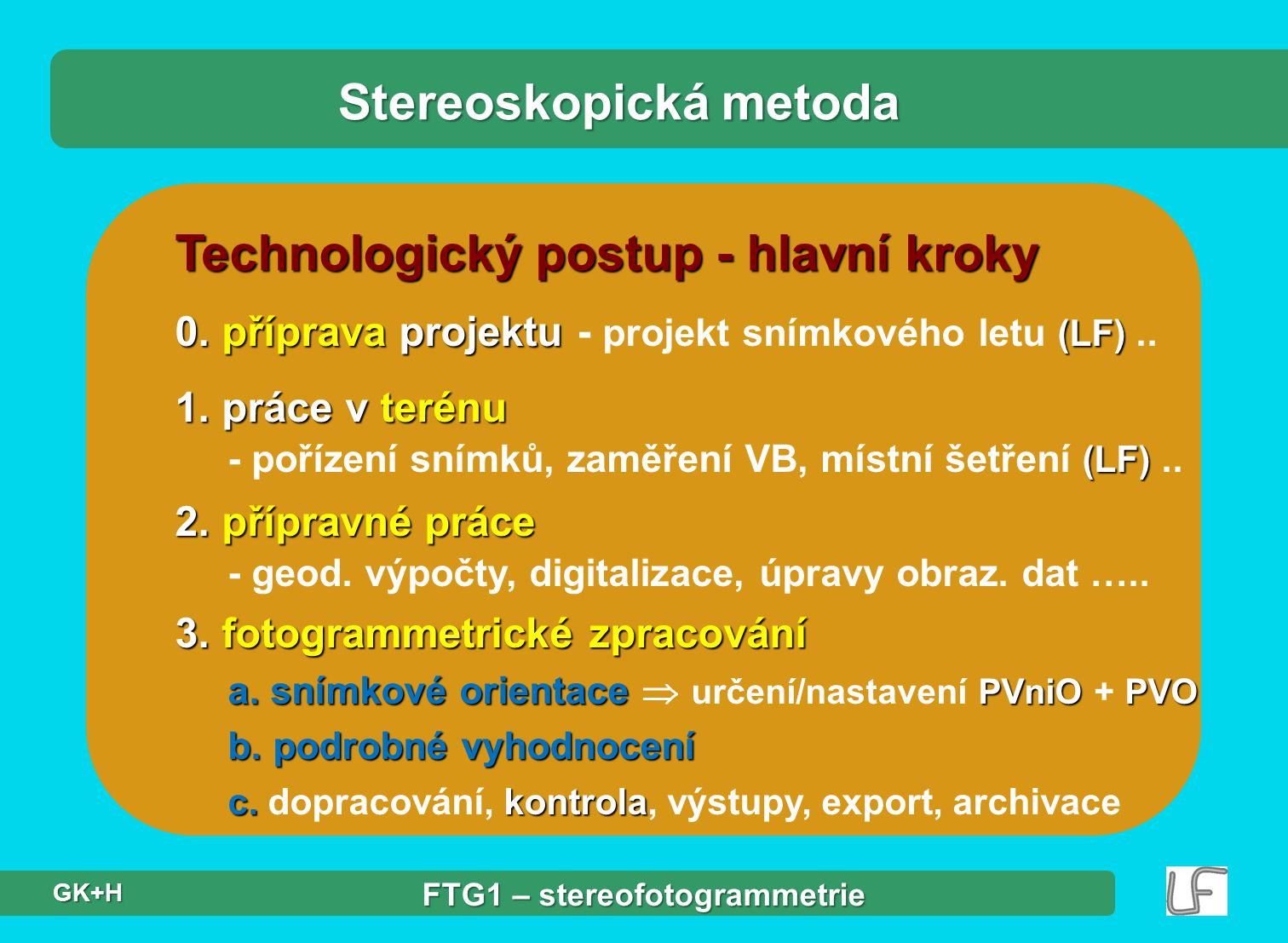 Technologický postup - hlavní kroky Stereoskopická metoda 0. příprava projektu (LF) 0. příprava projektu - projekt snímkového letu (LF).. 1. práce v t