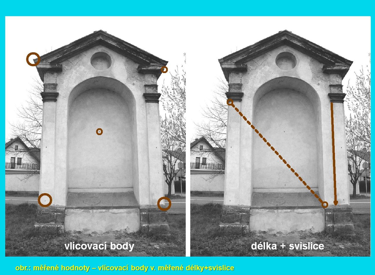 obr.: měřené hodnoty – vlícovací body v. měřené délky+svislice