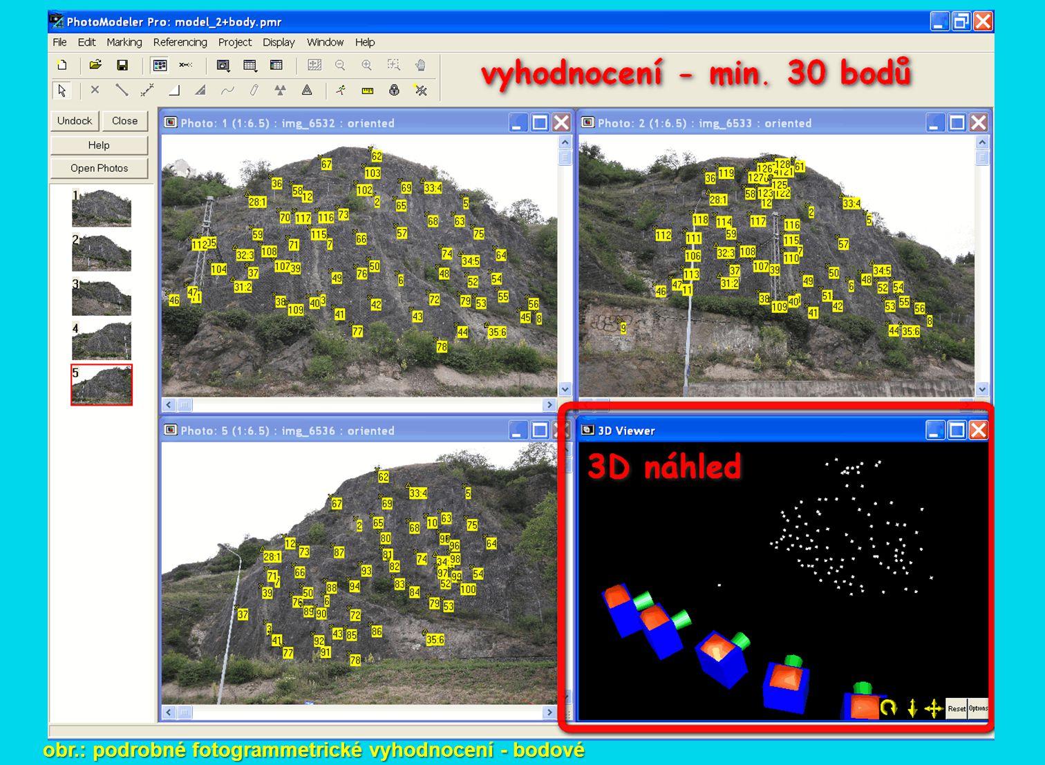 obr.: podrobné fotogrammetrické vyhodnocení - bodové
