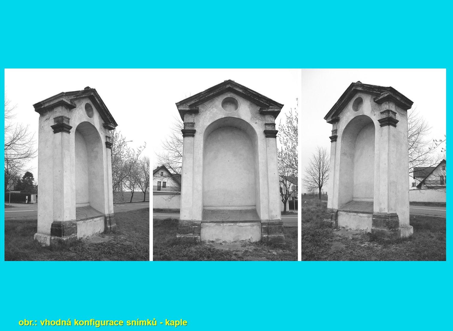 obr.: vhodná konfigurace snímků - kaple