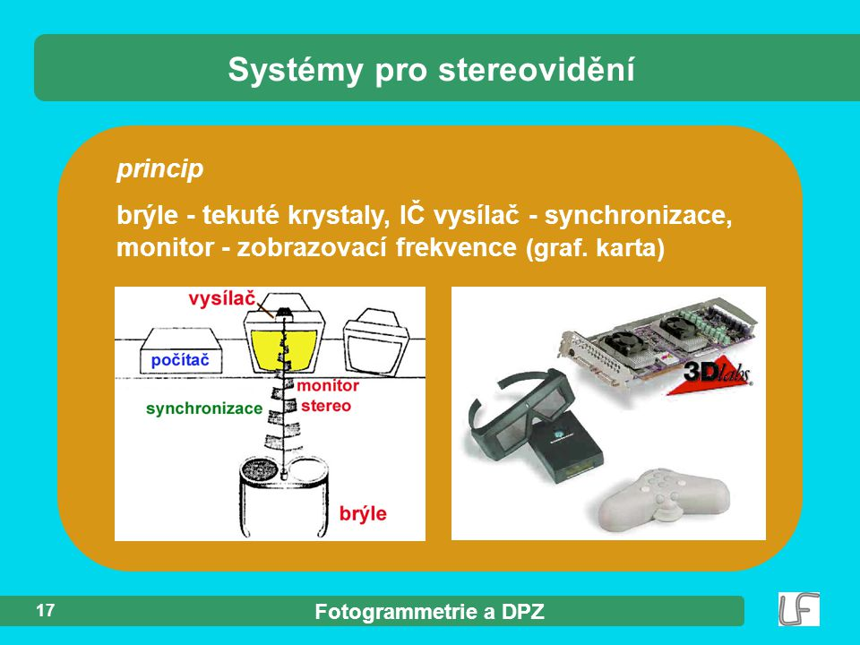 Fotogrammetrie a DPZ 17 princip brýle - tekuté krystaly, IČ vysílač - synchronizace, monitor - zobrazovací frekvence (graf.