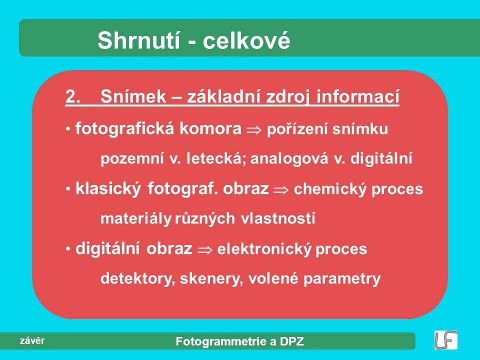 Fotogrammetrie a DPZ závěr Shrnutí - celkové 2.Snímek – základní zdroj informací fotografická komora  pořízení snímku pozemní v.