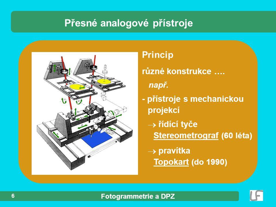 Fotogrammetrie a DPZ 6 Princip různé konstrukce ….