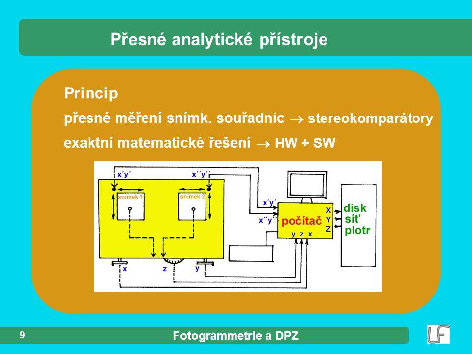 Fotogrammetrie a DPZ 9 Princip přesné měření snímk.