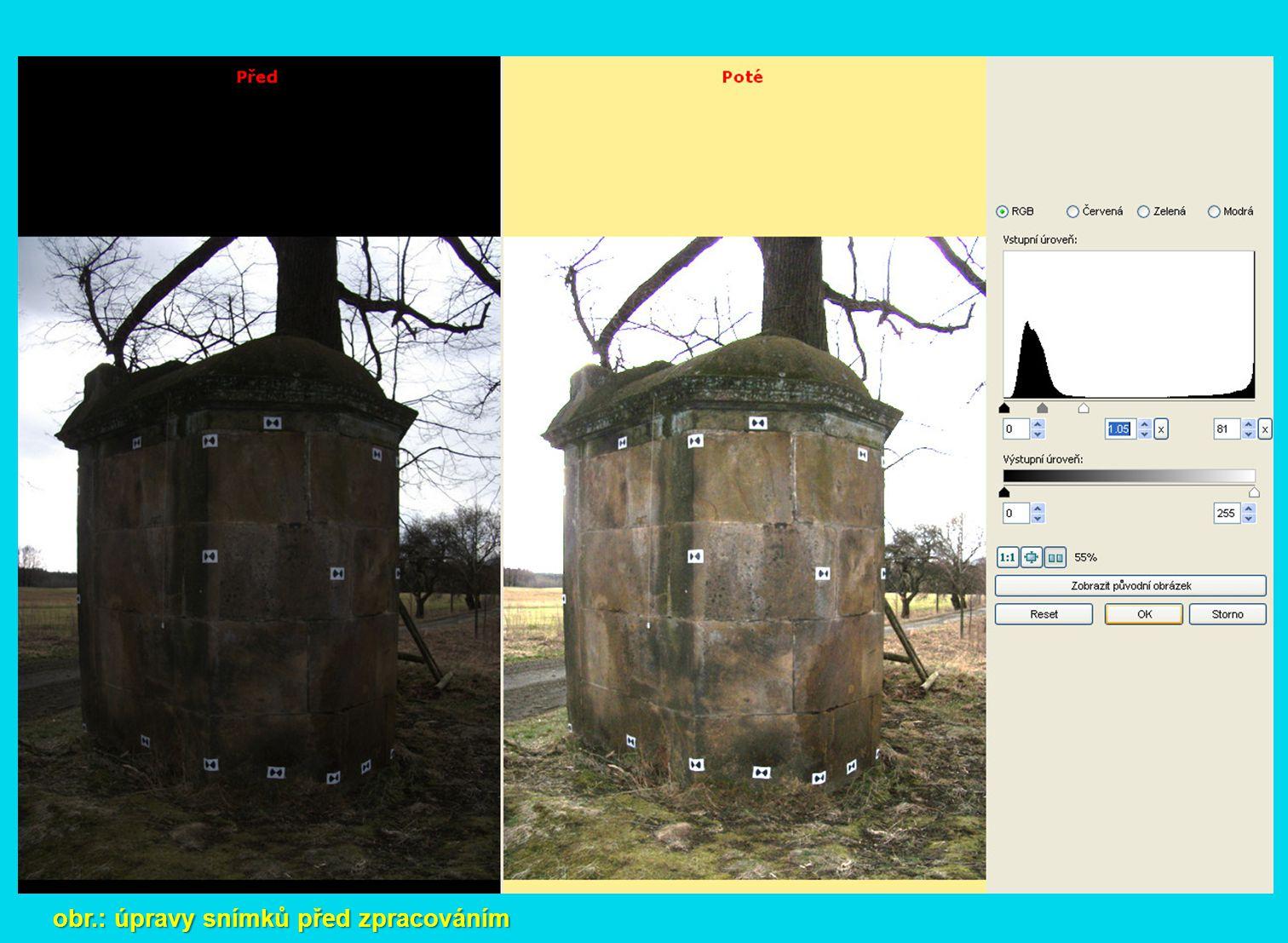 obr.: úpravy snímků před zpracováním