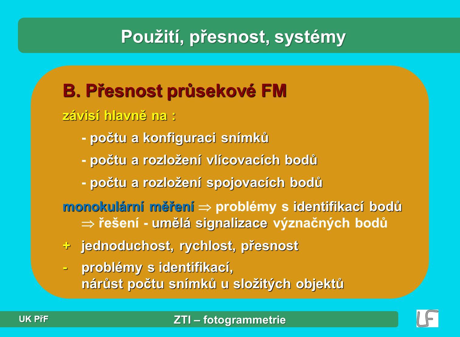 B. Přesnost průsekové FM závisí hlavně na : počtu a konfiguraci snímků - počtu a konfiguraci snímků počtu a rozložení vlícovacích bodů - počtu a rozlo