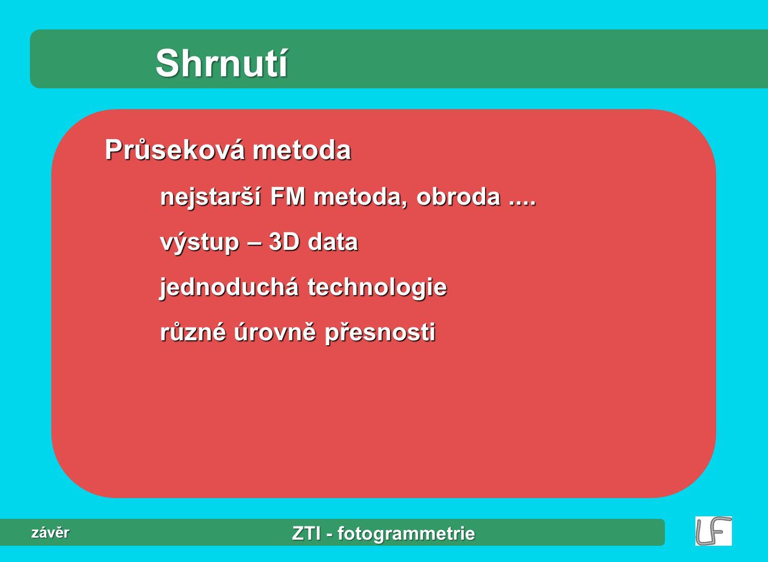 ZTI - fotogrammetrie závěr Shrnutí Průseková metoda nejstarší FM metoda, obroda....