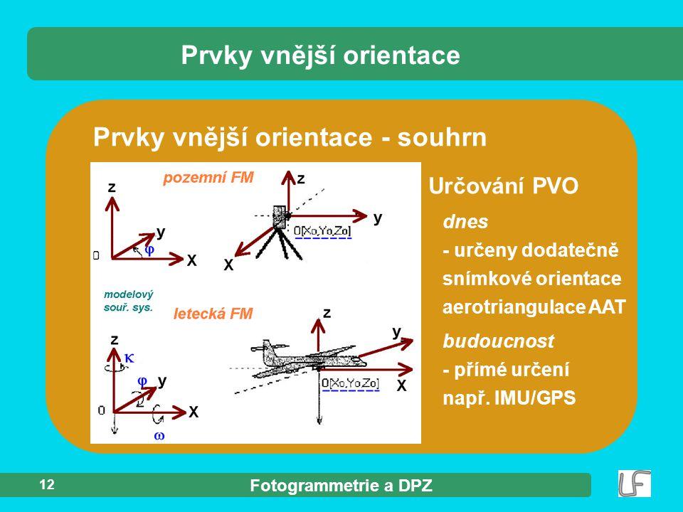 Fotogrammetrie a DPZ 12 Prvky vnější orientace Prvky vnější orientace - souhrn Určování PVO dnes - určeny dodatečně snímkové orientace aerotriangulace