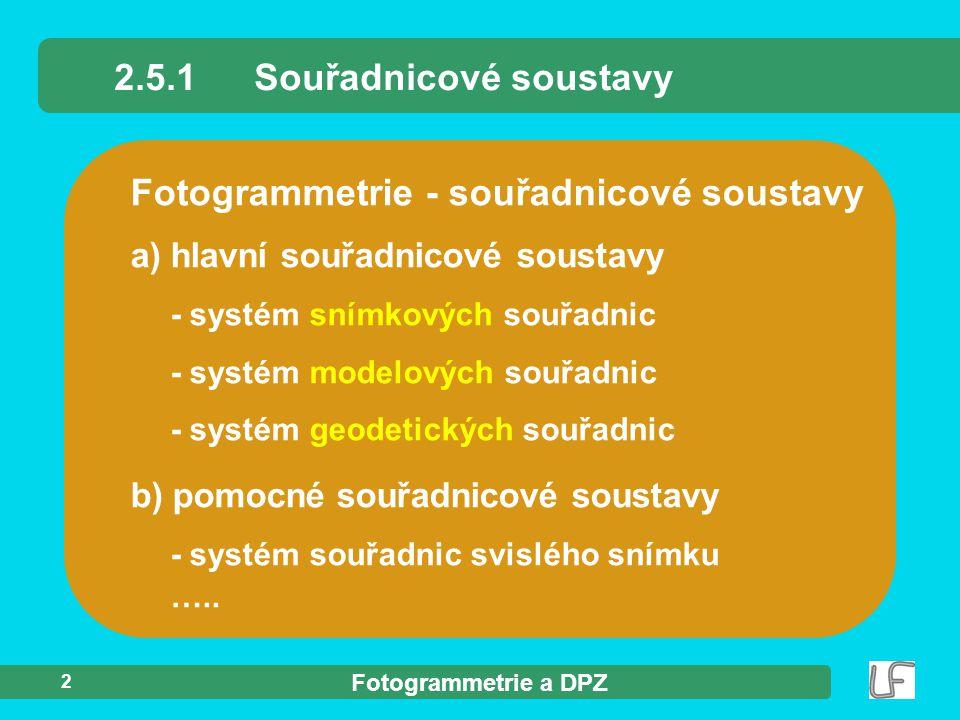 Fotogrammetrie a DPZ 2 Fotogrammetrie - souřadnicové soustavy 2.5.1Souřadnicové soustavy b) pomocné souřadnicové soustavy - systém souřadnic svislého