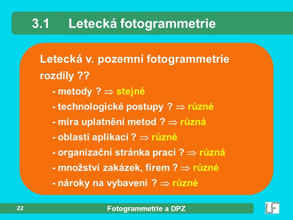 Fotogrammetrie a DPZ 22 Letecká v. pozemní fotogrammetrie 3.1Letecká fotogrammetrie rozdíly ?? - metody ?  stejné - technologické postupy ?  různé -