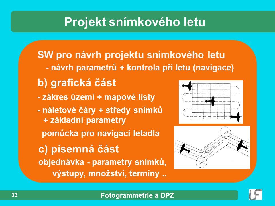 Fotogrammetrie a DPZ 33 Projekt snímkového letu SW pro návrh projektu snímkového letu - návrh parametrů + kontrola při letu (navigace) b) grafická čás
