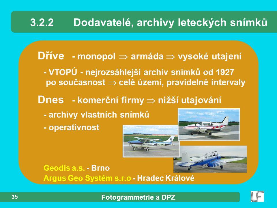 Fotogrammetrie a DPZ 35 Dříve - monopol  armáda  vysoké utajení - VTOPÚ - nejrozsáhlejší archiv snímků od 1927 po současnost  celé území, pravideln