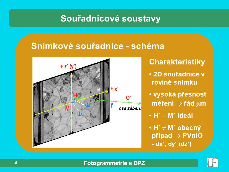 Fotogrammetrie a DPZ 4 Snímkové souřadnice - schéma Souřadnicové soustavy Charakteristiky 2D souřadnice v rovině snímku vysoká přesnost měření  řád 